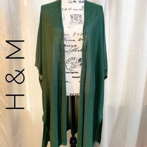 H&M Green Duster Cardigan Knit Open Front Long